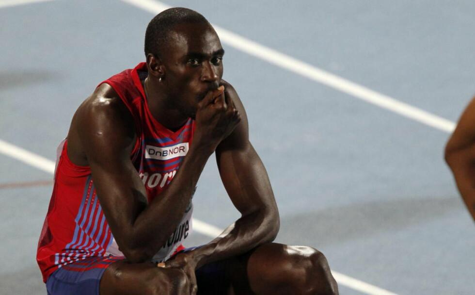 UTSLÅTT. Jaysuma Saidy Ndure mislyktes totalt i forsøket på 200 meter. Dermed er EM over for den norske sprinteren. Foto: Cornelius Poppe / Scanpix