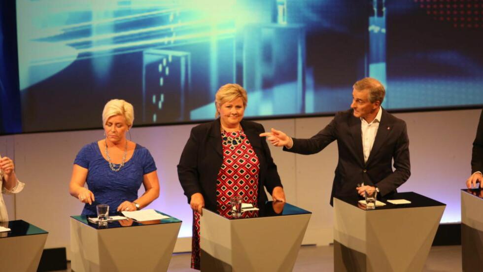 HETT OM SKATT: Kveldens partilederdebatt nådde kokepunktet da temaet ble skatt. Foto: Christian Roth Christensen / Dagbladet
