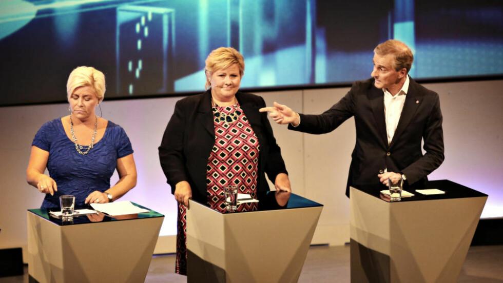 I STORFORM: Partilederdebatten på Arendalsuka markerer slutten på ferien for Siv Jensen, Erna Solberg og Jonas Gahr Støre. Foto: Christian Roth Christensen