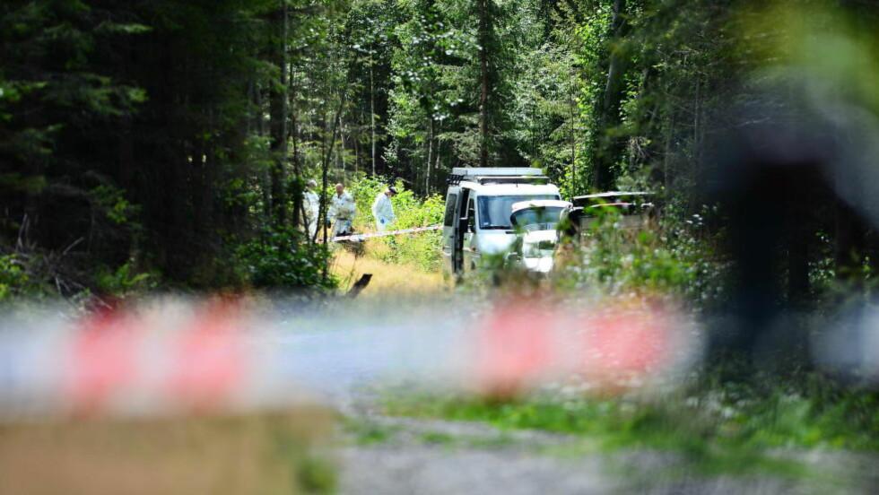 UNDERSØKELSER: Politiet jobber nå på stedet. Foto: Thomas Rasmus Skaug
