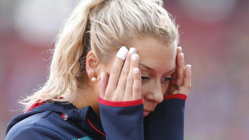 BLE STRESSA: Tonje Angelsen hoppet over fire høyder i dagens kvalifisering i høydehopp. På tre av dem brukte hun alle tre forsøkene. Foto: Lise Åserud / NTB scanpix