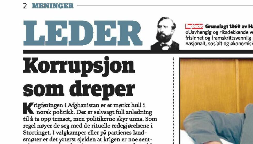 LEDER:Dagbladets leder 8.august. Faksimile.
