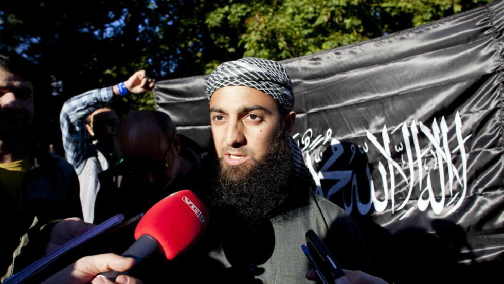 LANGT INTERVJU: Ubaydullah Hussain, talsperson for Profetens Ummah, ble intervjuet i 43 minutter med på VG-tv lørdag. Bildet er fra en tidligere demonstrasjon. Foto : Sara Estiri