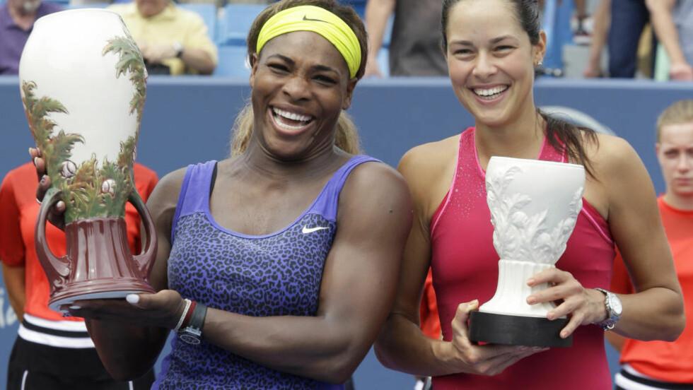 FÅ PROBLEMER: Serena Williams vant søndag tennisturneringen i Cincinnati for første gang. Hun hadde få problemer med å slå serbiske Ana Ivanovic i finalen. Foto: AP Photo / Al Behrman / NTB Scanpix
