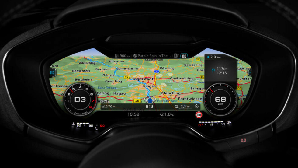 HELDIGITAL: I nye Audi TT er navigasjonen flyttet til bak rattet. Foto: AUDI