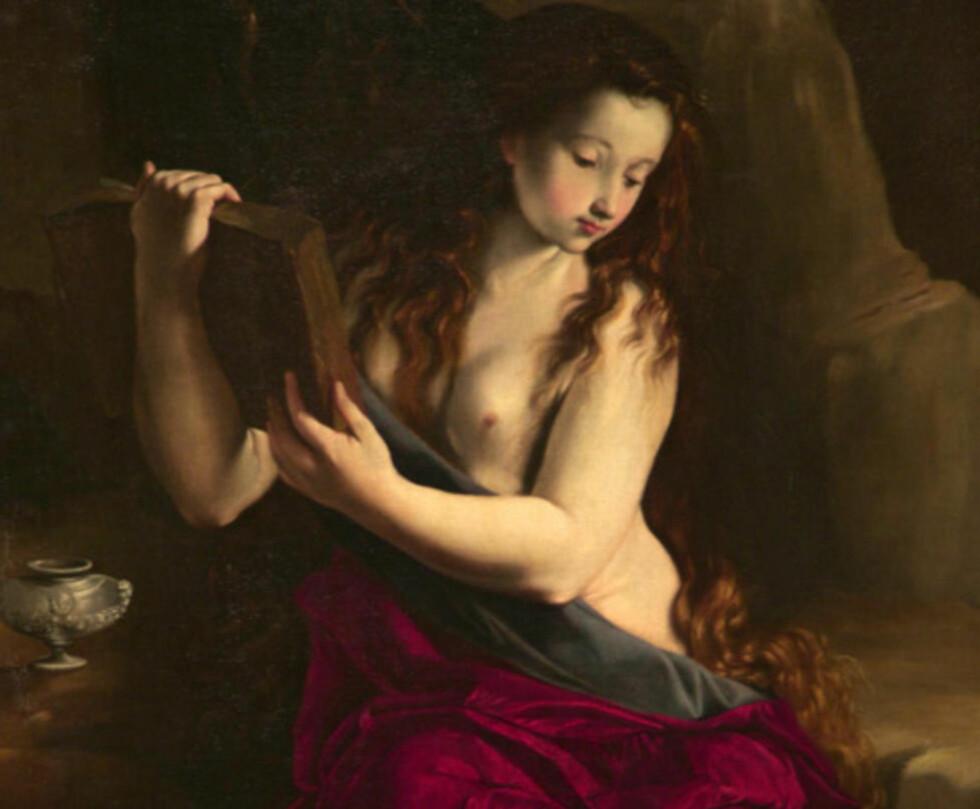 KUNSTNERNES FAVORITT: Utallige kunstnere har gjennom tidene malt sin versjon av Maria Magdalena. Vakker, ettertenksom, lettkledd og ofte sorgfull. Hvordan hun så ut i virkeligheten, er det ingen som vet. Maleri: MAINO