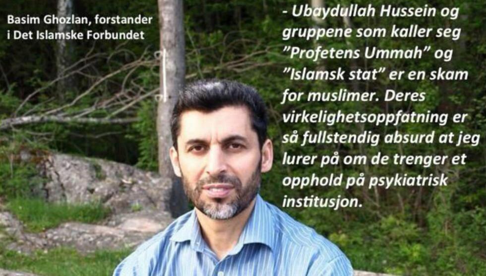 - ABSURD: Forstander i Det islamske forbundet, Basim Ghozlan, har postet dette bildet av seg selv på facebook, som en reaksjon på IS og Profetens Umma. Nå oppfordrer han alle i å demonstrere mot de ekstreme islamistene som han mener misbruker islams navn. Foto: Privat/Linda Alzaghari/Minotenk