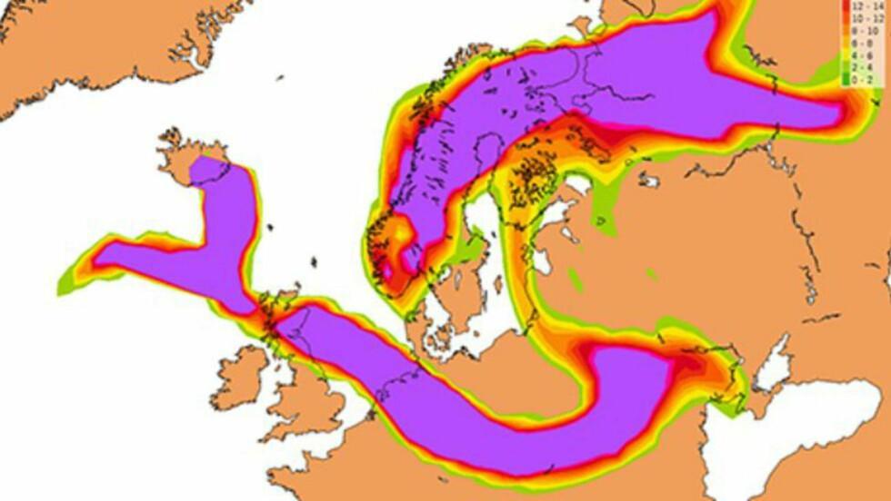 ASKESKYER: Slik blir situasjonen etter tre-fire dager, dersom vulkanen Bárðarbunga bryter ut i dag. Grafikken viser vanlig flyhøyde, 30 000 fot. Grafikk: Bjart Eriksen/Meteorologisk institutt
