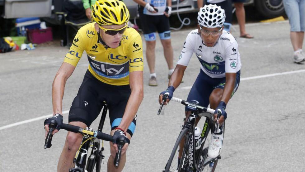 DE TO STORE: Chris Froome og Nairo Quintana er de to største favorittene til årets Vuelta a España. De ble nummer en og to i fjorårets Tour de France, og kan fort kapre de samme plassene i vueltaen. Foto: Tim de Waele (©TDWSport.com)