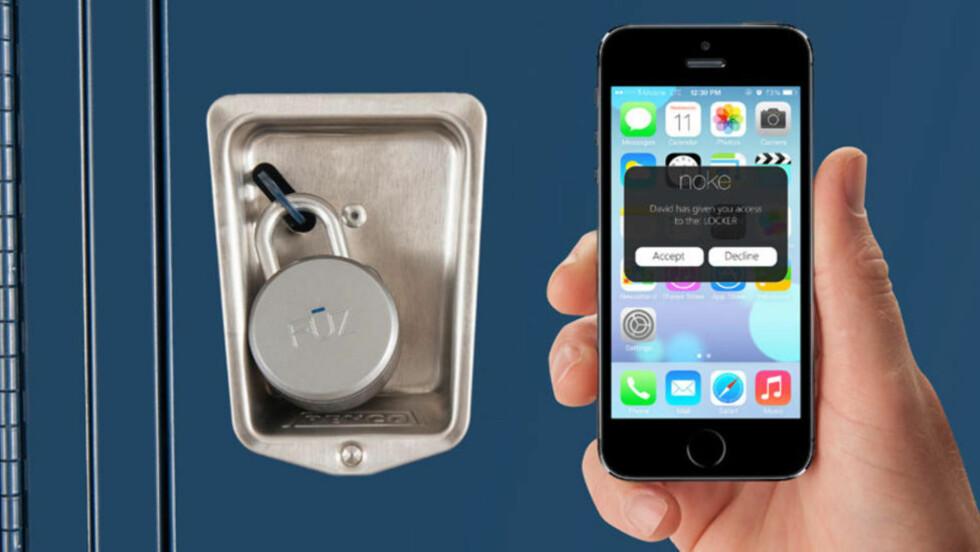 SMART: Du trenger ikke en nøkkel for å åpne denne låsen, det holder med å ha mobilen i lomma. Men hva skjer når du går tom for strøm? Foto: FUZDESIGNS