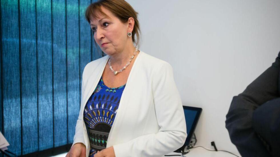 KS-LEDER: Gunn Marit Helgesen (H) etter møtet i hovedstyret i KS . Foto: Audun Braastad/NTB Scanpix