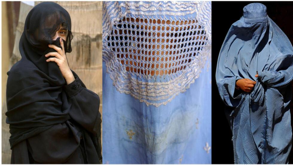 UNDERTRYKKING? Bildet viser en indisk kvinne i niqab (til ventre) og afghanske kvinner i burka. Foto: AFP