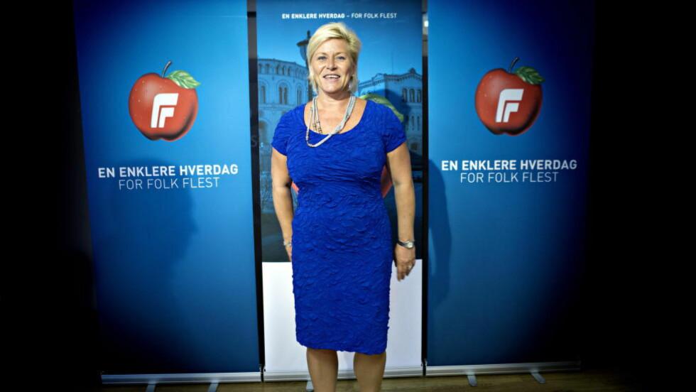 STILLES TIL VEGGS: Nå reiser Frp-grasrota seg i kravet om økt oljepengebruk i budsjettet Frp-leder og finansminister Siv Jensen skal legge fram i høst. Foto: Nina Hansen / Dagbladet