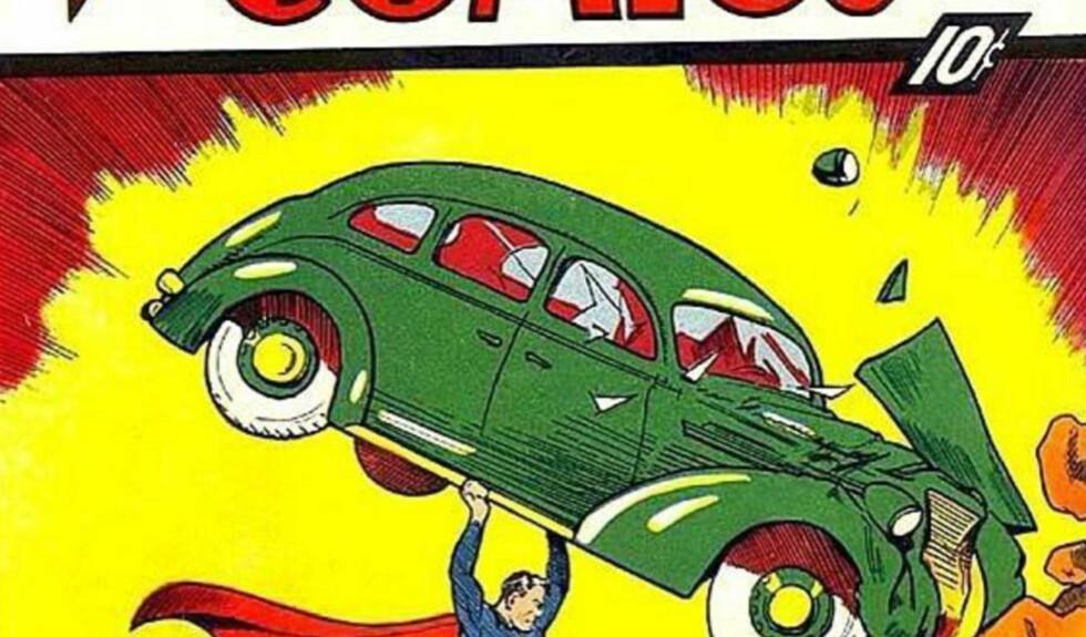 VERDENS DYRESTE TEGNESERIEHEFTE: 10 cent (60 øre) var prisen på Superman-heftet i 1938. Her bildet fra førstesideomslaget, som er blitt smått legendarisk. Faksimile.