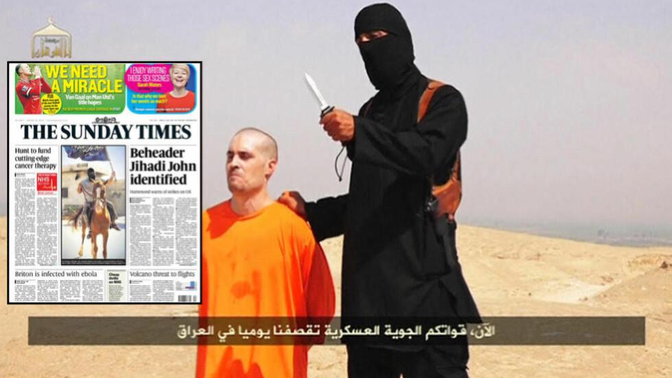 - IDENTIFISERT:  Den britiske avisa The Sunday Times hevder at den mye omtalte mannen kledd i sort på videoen av frilansjournalisten James Foley nå er identifisert. Foto: REUTERS/NTB Scanpix/Faksimile, The Sunday Times.