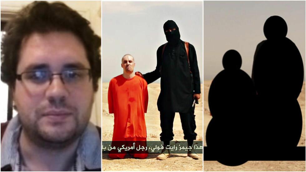 VILLE VEDDET PÅ DET: Eliot Higgins (t.v) saumfarer sosiale medier for å kartlegge krigen i Syria. Det er videoen av James Foleys (i oransj) henrettelse, som har fått ham til å saumfare nettet den siste uka. Nå mener han å ha sikre spor. Foto: Skype / IS / Billingcat / Eliot Haggins