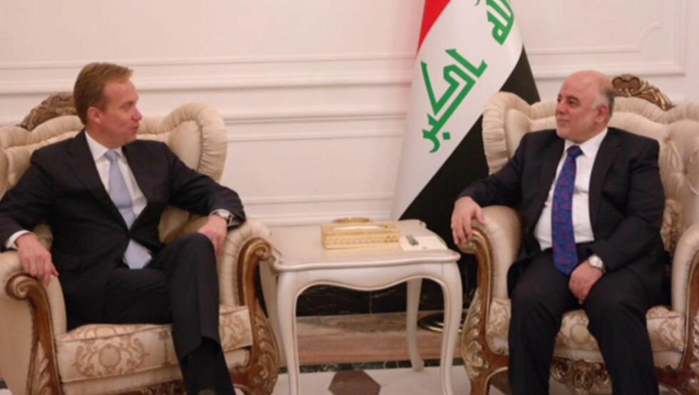 I møte:  Utenriksminister Børge Brende (t.v.) møtte nyutnevnt statsminister i Irak, Haider al-Abadi, under sitt besøk i Bagdad mandag. Foto: UD / NTB scanpix
