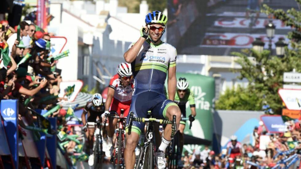 BEST: Ingen kunne svare på Michael Matthews avslutning på den tredje etappen i årets Vuelta a España. Dermed kunne han juble for sin tredje seier i rittet. Foto: Foto: JOSE JORDAN (Scanpix/Afp)