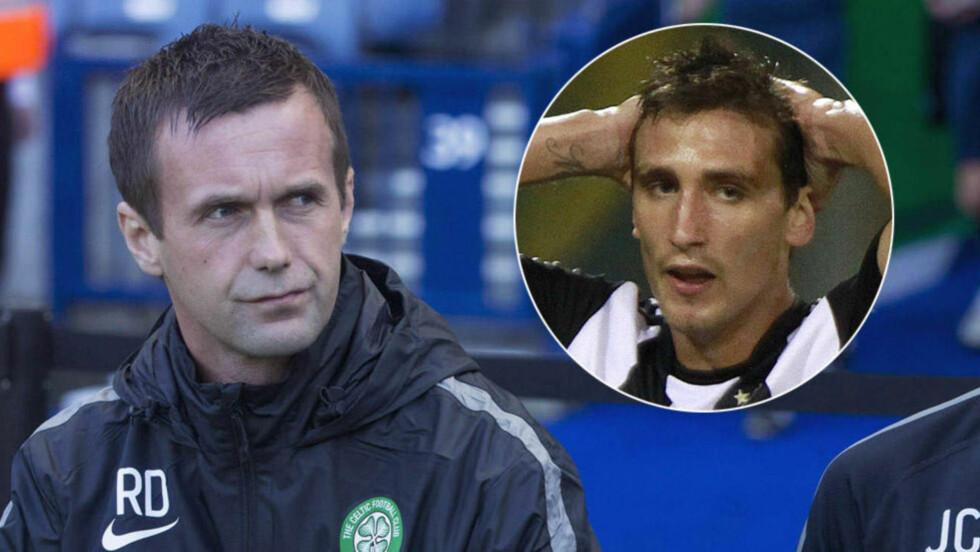 CELTIC-AKTUELL: Celtic-manager Ronny Deila er på spillerjakt. Sporting Gijon-spissen Stefan Scepovic er så redd for å ødelegge en eventuell overgang til Skottland at han ikke vil trene mer med sine spanske lagkamerater. Foto: NTB Scanpix