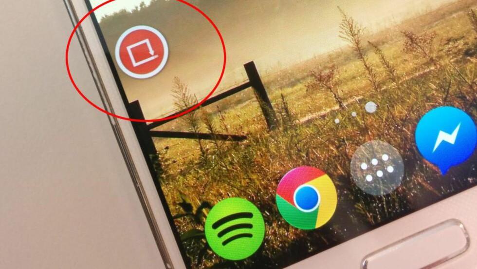 DEN SMARTE LILLE KNAPPEN: Trykk på den for å skifte mellom sist brukte app. Foto: TROND BIE