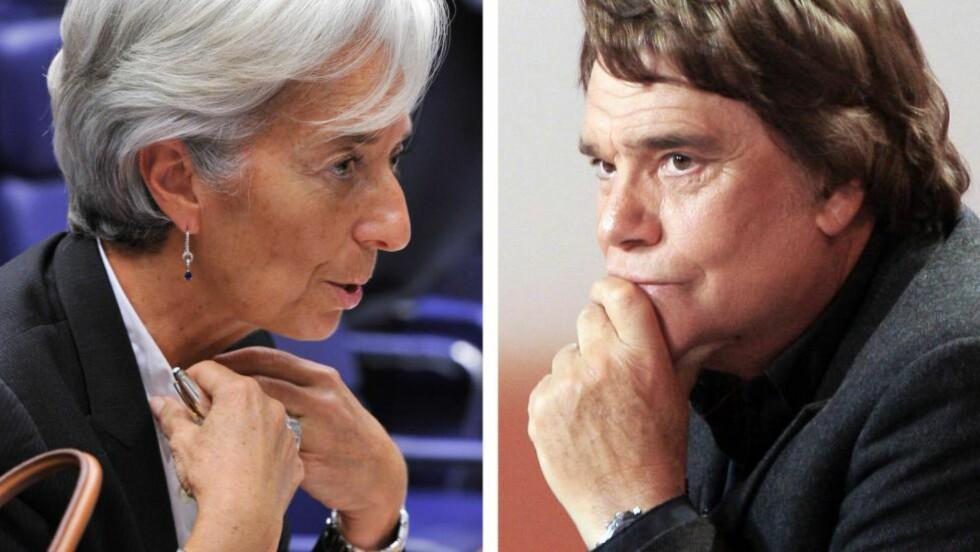 BETENT: Korrupsjonssaken der både Christine Lagarde (t.v.), sjef for Det internasjonale pengefondet, og den franske forretningsmannen Bernard Tapie er involvert, har rystet fransk samfunnsliv. Foto: AFP / NTB scanpix