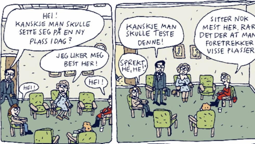 Samtaleterapi I Anna Fiskes nye tegneserie for voksne foregår mye av handlingen i et terapirom.