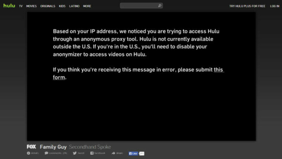 <strong>FEILMELDING:</strong> Slik ser det ut om man forsøker å få tilgang til Hulu gjennom en anonymiseringstjeneste akkurat nå.