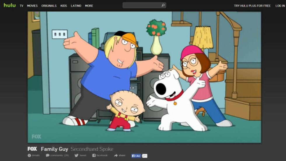 <strong>BLIR UTILGJENGELIG:</strong> «Family Guy» er en av mange tv-serier som er tilgjengelig på Hulu kort tid etter amerikansk visning. Nå mister VPN-brukere tilgangen, noe som vil si at bakdøra for brukere utenfor USA stenges.