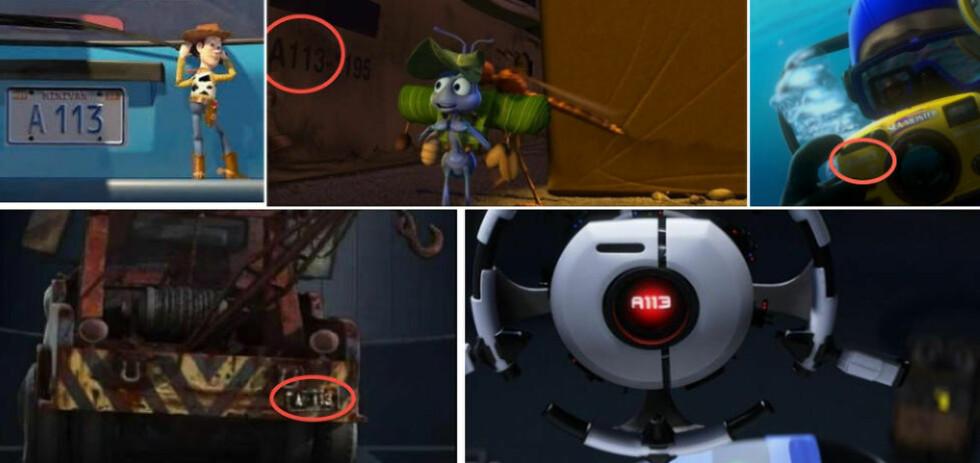 DEN SKJULTE KODEN: Her eksempler fra (fra venstre, øverst, og med klokka): «Toy Story», «A Bug's Life». «Finding Nemo», «Cars» og «WALL-E». Foto: Pixar/Disney