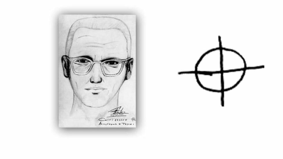 ETTERLYST: Til venstre en tegning som er laget av politiet etter beskrivelse fra et vitne. Til høyre: «Zodiac»-symbolet drapsmannen brukte i brevene sine. Foto: Wikimedia commons