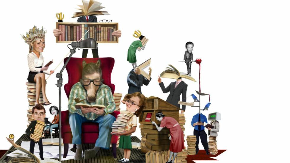 HVEM BESTEMMER? Hvem har størst påvirkning på hva du leser? Kronprinsesse Mette-Marits boktips? Bibliotekaren, bloggere, eller bokhandleren? Illustrasjon: André Martinsen