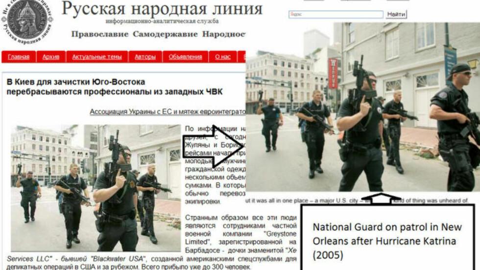 RUSSISK PROPAGANDA: Det manipulerte bildet benyttes på russiske nettsteder. Her har en Twitter-bruker lagt ut en forklaring på hvor bildet egentlig stammer fra, nemlig New Orleans. Foto: Twitter