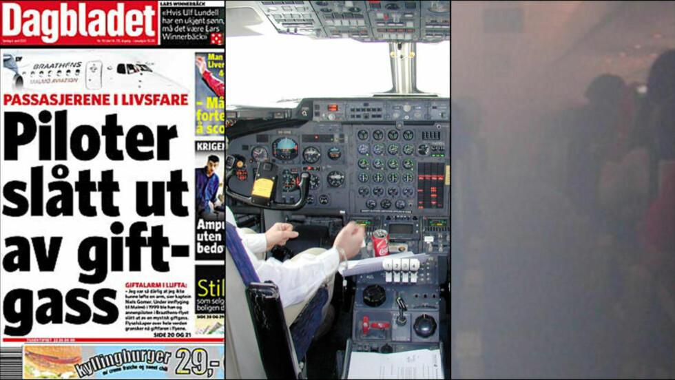 GIFTGASSHENDELSER: I april 2003 skrev Dagbladet om giftgasser i fly for første gang. Kaptein Niels Gomer ble i 1999 så syk av en ukjent gass i cockpit at det var med nød og neppe han fikk landet flyet med 73 mennesker om bord. Bildet i midten er fra rekonstruksjonen av hendelsen. Bildet til høyre viser hvordan det artet seg da passasjerer og bestening ble utsatt for en giftgasshendelse i september 2010 på en amerikansk flygning. Foto: Havarikommisjonen i Sverige/Privat