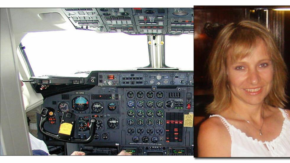 SYK PILOT: Den tidligere piloten Susan Michaelis ble syk av giftgasser om bord. Nå kjemper hun for at flyindustrien skal ta på alvor problemene knyttet til forurenset pusteluft i kabin og cockpit. Foto: Havarikommisjonen i Sverige/Privat