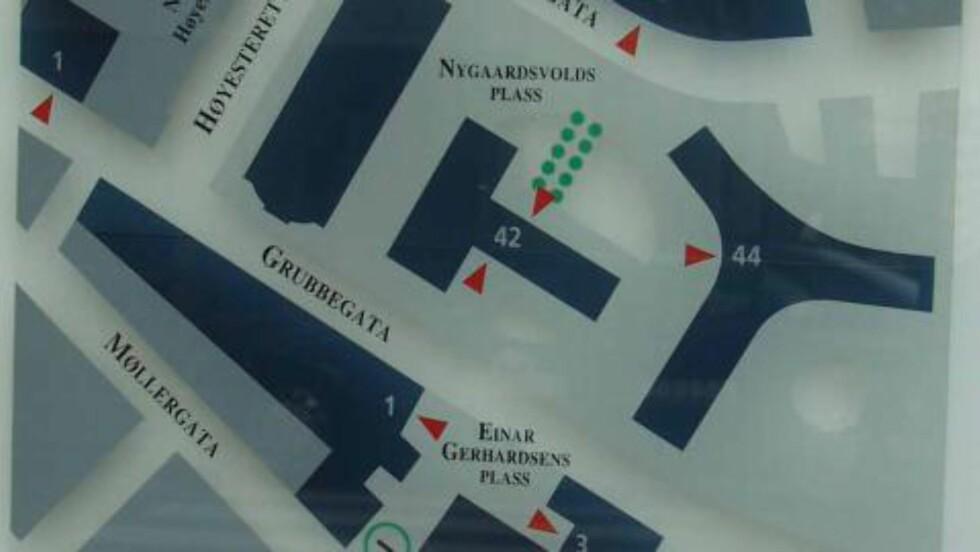 SETT OVENFRA: Kart med gatenavn.