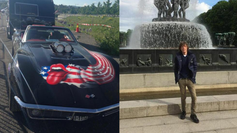 STONES-TILHENGER: Det må ha vært en stor fan som ankom Rolling Stones-konserten i denne bilen. Mick Jagger valgte på sin side å ta en tur i Frognerparken. Foto: Merete Skogrand / Twitter Mick Jagger