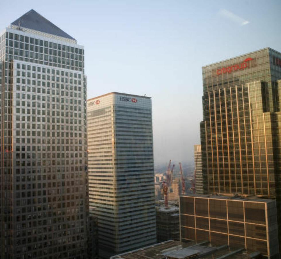 LUREHUS: Her i Canary Wharf skulle den irske investoren bygge Europas høyeste boligblokk - før luftslottet sprakk. Foto: Reuters / NTB scanpix