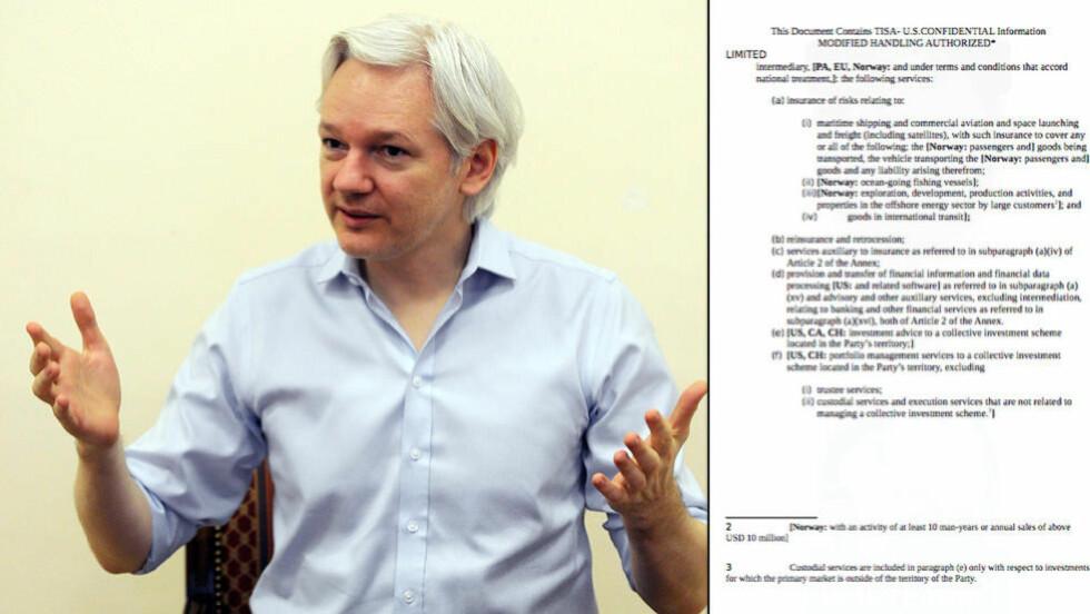 <strong>NY LEKKASJE:</strong> I dag er det to år siden Julian Assange søkte tilflukt i Ecuadors ambassade i London. Samme dag slipper han hemmelige dokumenter fra forhandlingene av en ny handelsavtale. Foto: NTB Scanpix/WikiLeaks