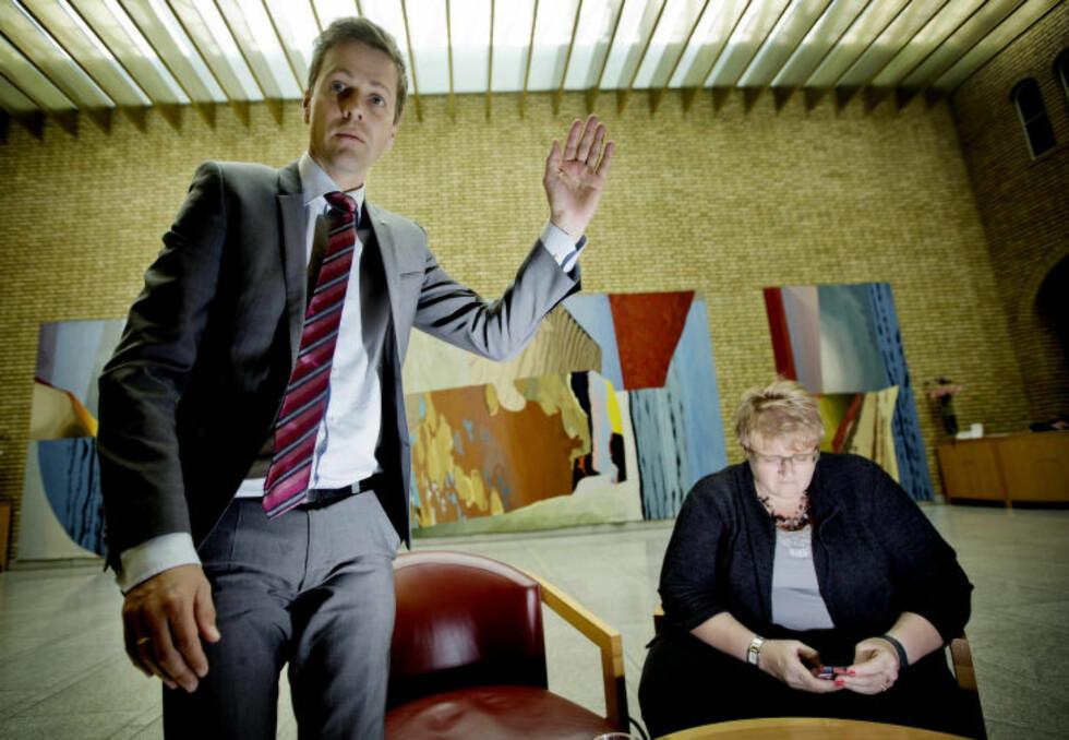 HARD KRITIKK: KrF-leder Knut Arild Hareide og Venstre-leder Trine Skei Grande får knallhard kritikk fra Sp-leder Trygve Slagsvold Vedum. Foto: Anita Arntzen / Dagbladet