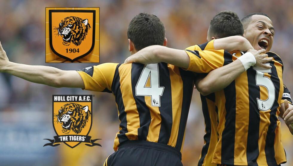 TULL MED TIGER: Hull City har presentert klubbens nye emblem (øverst til venstre). Det faller ikke i smak hos fansen, som ønsker seg det gamle (nederst): Foto: Hulls hjemmeside / Scanpix AP