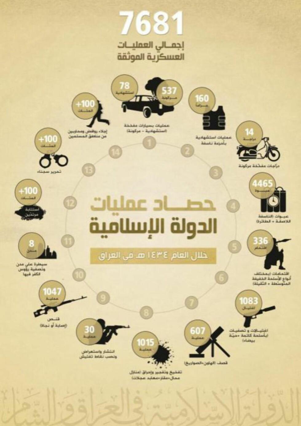 OVERSIKTLIG: Årsmeldinga fra Den Islamske Staten i Irak og Levanten er godt billedlagt og lett forståelig.