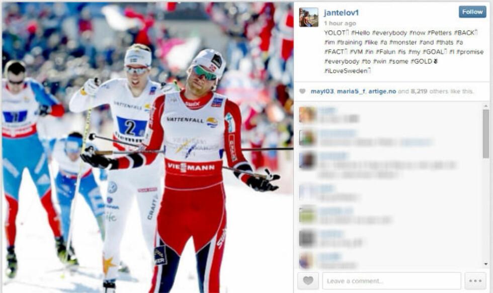 NY HERJING MED SVENSKENE? Petter Northug la ut dette bildet - der han tilsynelatende herjer med svenske Marcus Hellner - i en melding der han lovet gull under VM i Falun til neste år. Så slettet han innlegget.