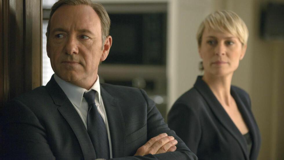 UTEN SKRUPLER: Kevin Spacey som Francis Underwood og Robin Wright som Claire Underwood i den populære Netflix-serien «House of Cards». Foto: AP / Netflix, Nathaniel E. Bell / NTB scanpix