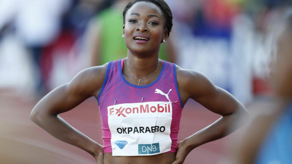 VANT: Ezinne Okparaebo vant på 100 meter under lag-EM i friidrett i Tallinn. Her fra Bislett Games. Foto: Jon Eeg / NTB scanpix