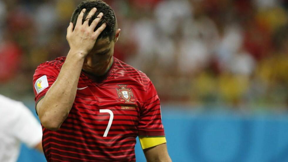 OPPGITT: Det var en tidvis svært frustrert Cristiano Ronaldo som lenge sleit mot USA i natt. Humøret var ikke stort bedre da han møtte pressen etter kampen. Foto: REUTERS/Jorge Silva/NTB Scanpix