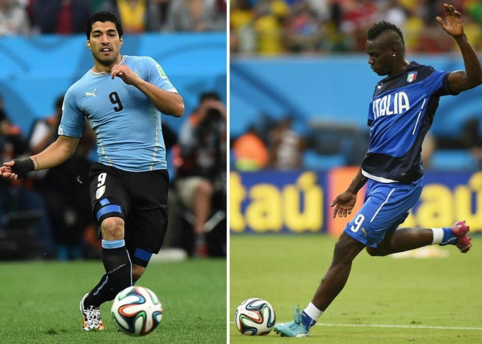 KONTROVERSIELLE: Uruguay-angriper Luis Suarez (t.v) og Italy-spiss Mario Balotelli er begge kjent for temperamentet. Foto: AFP  / BEN STANSALL / DANIEL GARCIA / NTB SCANPIX