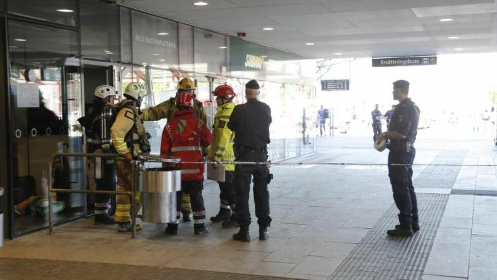 BOMBETRUSSEL: All togtrafikk på sentralstasjonen i Gøteborg er stoppet, og tog er blitt evakuert på grunn av en bombetrussel, bekrefter svensk politi. Foto: ADAM IHSE / TT / NTB scanpix