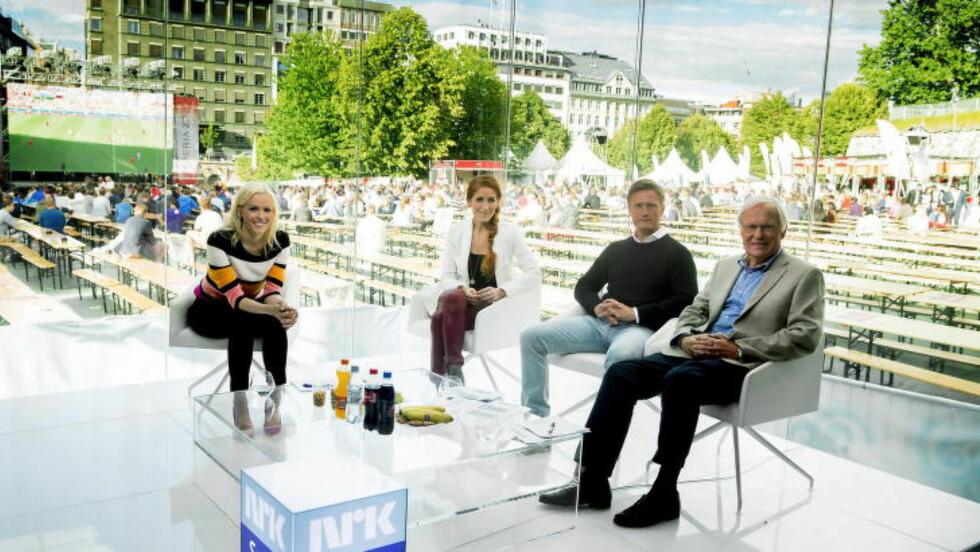 NRK: Programleder Carina Olset sammen med ekspertpanelet Lise Klaveness, Jørgen Jalland og Arne Scheie. Foto: Bjørn Langsem / DAGBLADET