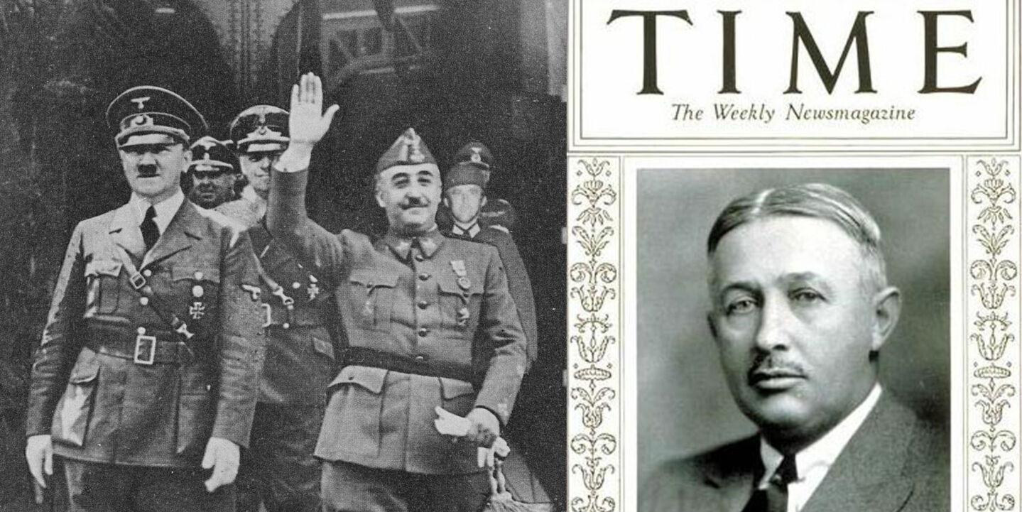 HANDLET MED DIKTATORER: Adolf Hitler og Francisco Franco tjente begge godt på handel med selskapet til norske Torkild Rieber (til høyre). Foto: Oronoz/NTB Scanpix/TIME/Wikimedia Commons