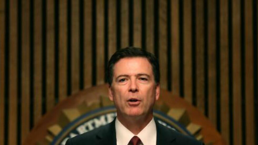 AMERIKAS BARN: FBI-sjef James Comey fortalte om den landsomfattende aksjonen på en pressekonferanse mandag ettermidag amerikansk tid. Foto: Mark Wilson/Getty Images/AFP